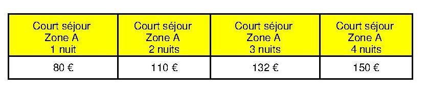 Tarifs courts séjours Zone A