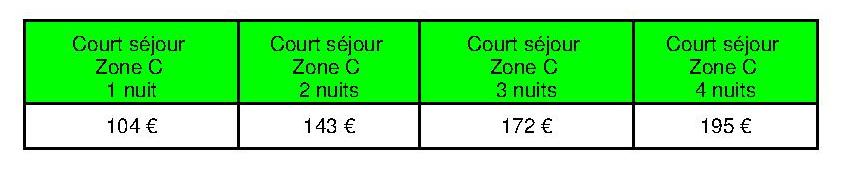 Tarifs courts séjours Zone C